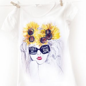 Tricou floarea soarelui. Girls just wanna have sun.