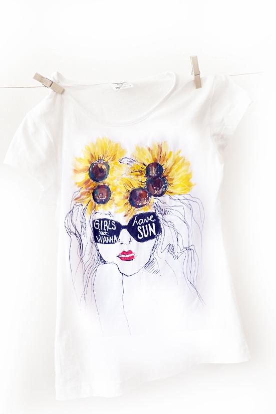 Tricou floarea soarelui. Girls just wanna have sun.