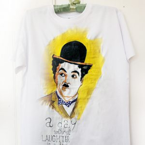 Charlie Chaplin. Tricou pictat manual, pentru bărbați, personalizat.