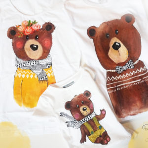 Familia de urși. Tricouri asortate pentru familie, pictate manual.