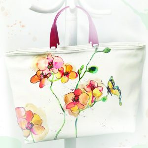Geanta pictată cu Orhidee. Geantă din piele naturală, lucrată manual.
