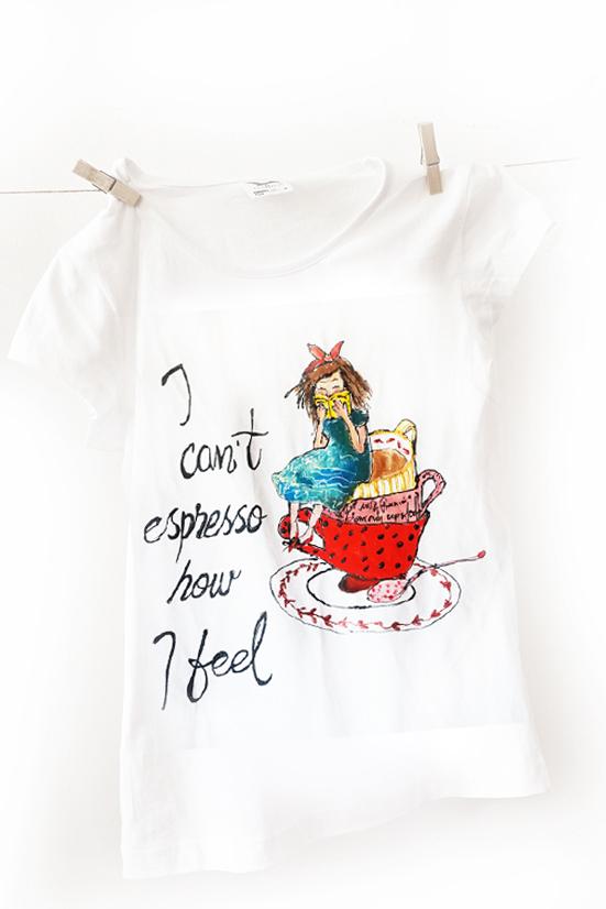 I can't espresso how I feel. Tricou pentru iubitoare de cafea și cărți.