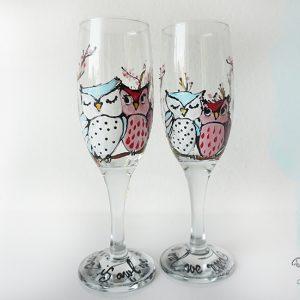 Pahare șampanie, pictat cu bufnițe. Pahare personalizate.