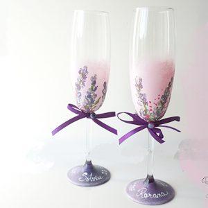 Pahare șampanie pictate cu lavandă. Pahare personalizate.