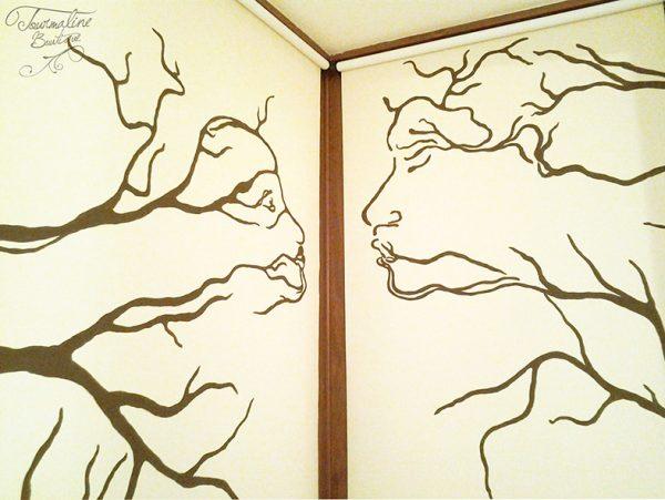 Pictură pe perete. Ramuri portrete.