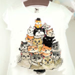tricou pictat brad de pisici