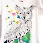 Bufnița grafică, colorată. Tricou pictat manual, personalizat.