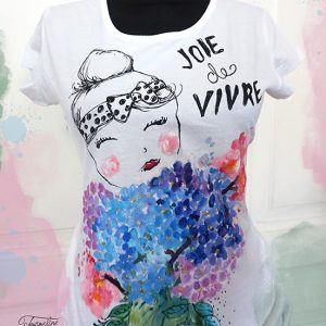 Joie de vivre. Tricou pictat cu hortensii albastre. Tricou personalizat.