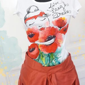 Live. Laugh. Dream. Tricou pictat cu flori de mac