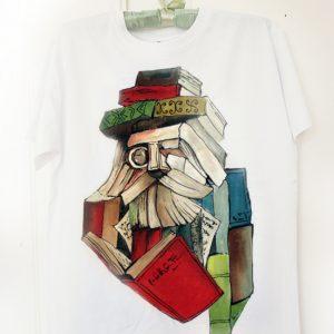 Omul Carte. Tricou pictat manual pentru iubitori de cărți. Tricouri personalizate.