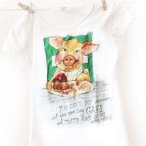 Dulciuri și fericire. Tricou personalizat, pictat manual.