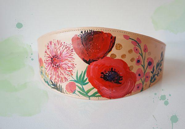 Brâu nude cu flori. Piele naturală, pictat manual.