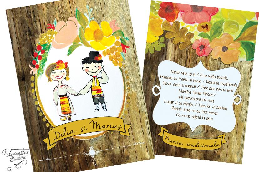 Invitație Nuntă Tradițională Cu Flori De Câmp Si Ilustratie Familie