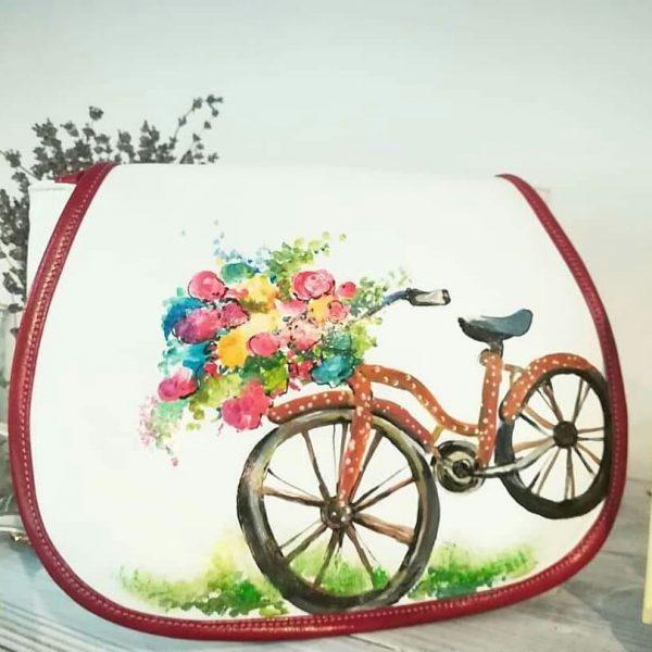 geanta cu bicicleta pictata manual