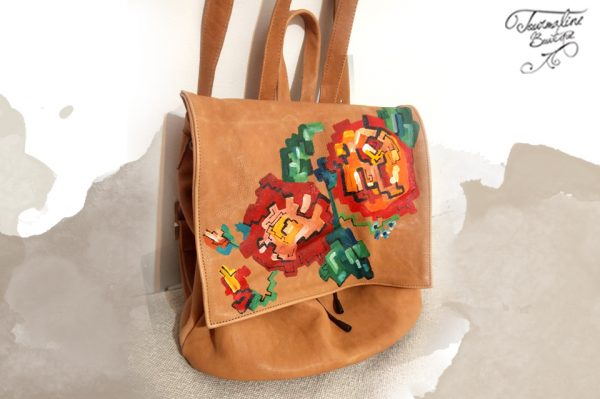 rucsac piee naturala pictat model traditional 2