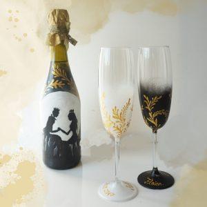 set pahare nunta tematica regala