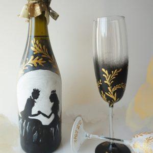 sticla si pahare nunta picate
