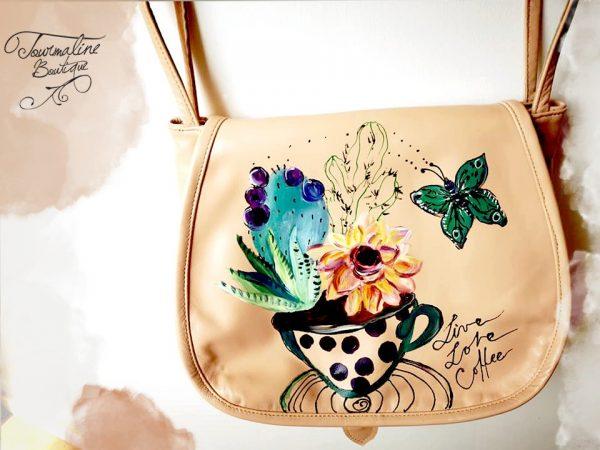 Geanta pictată manual Live. Love. Coffee