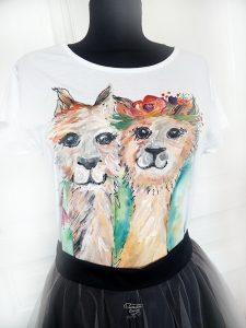 Tricou pictat manual cu alpaca