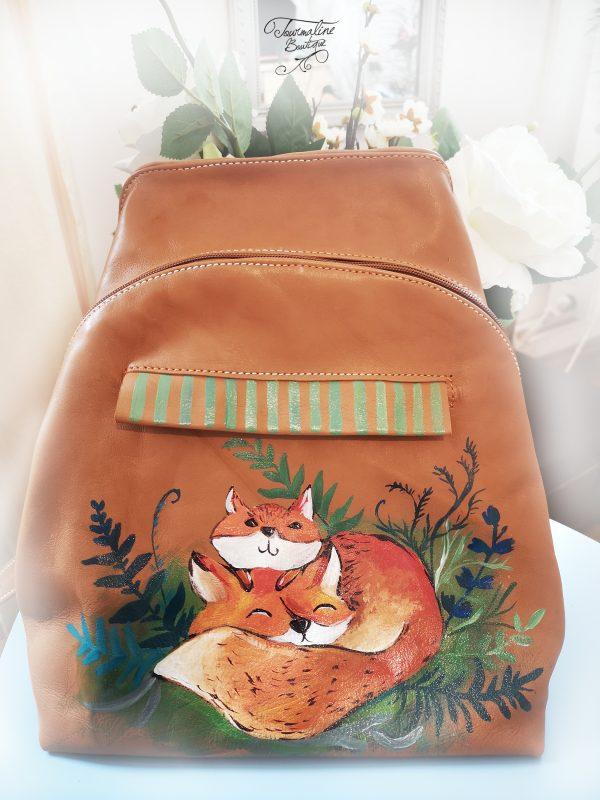 Rucsac din piele naturală Foxes Family