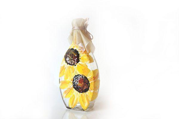 Sticluță mărturie cu floarea soarelui. Mărturie personalizată.
