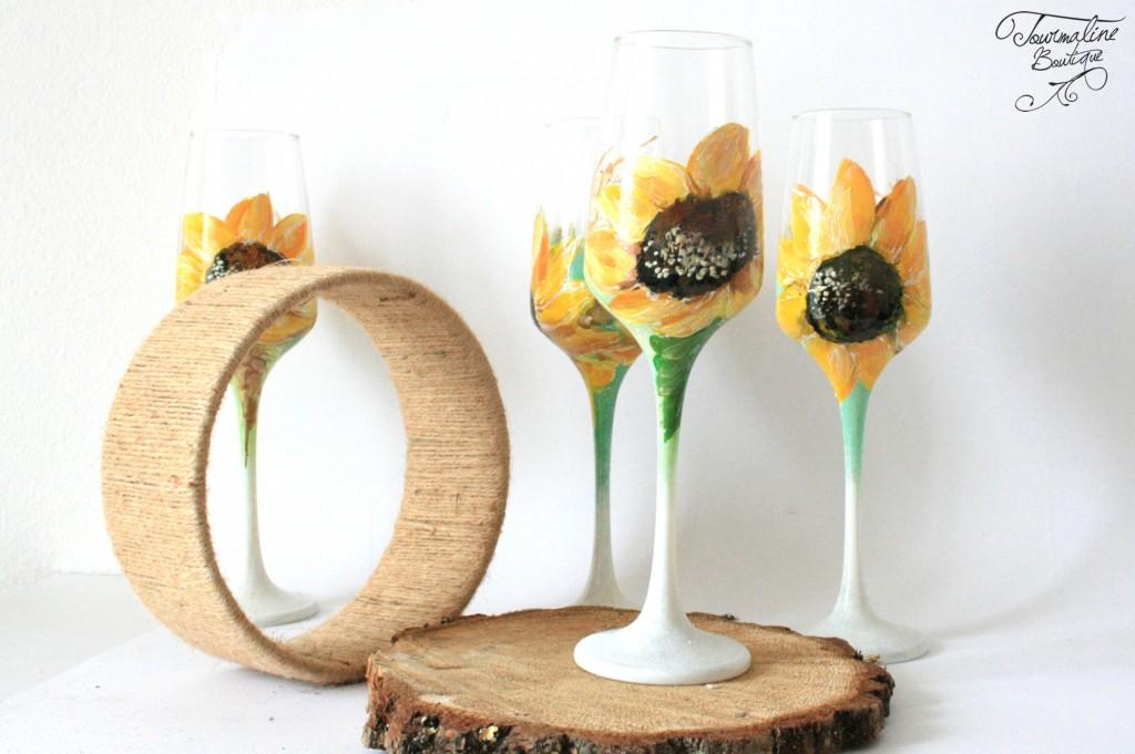 Pahare pictate manual cu floarea soarelui