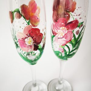 Pahare pictate manual cu orhidee roz