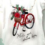 Tricou cu bicicletă roșie și flori