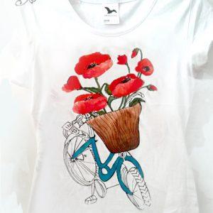 tricou bicicleta cu maci mari