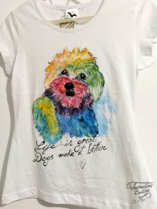 tricou pictat catel multicolor