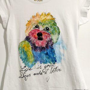 tricou pictat catel multicolor
