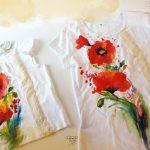 set tricouri mama fiica pictate cu maci si broderie