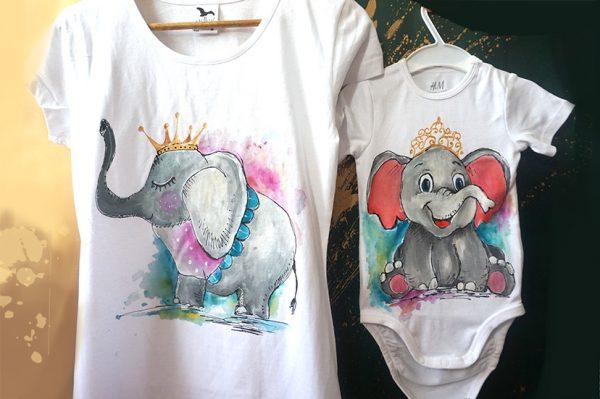 set tricouri mama-fiica elefanti