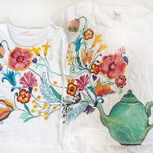 Set tricouri mama fiica, ceaincul cu flori.