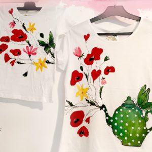 Set tricouri mamă-fiică, ceainicul cu maci