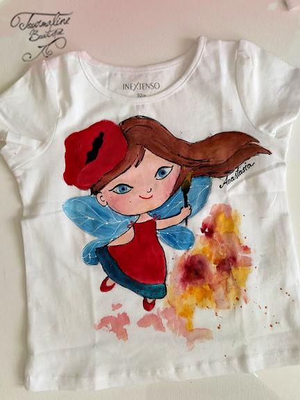 Tricou fetițe, Zâna pictează. Tricou pictat manual.