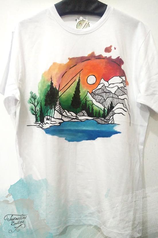 tricou pictat manual peisaj munte