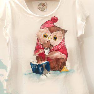 tricou handmade bufnita